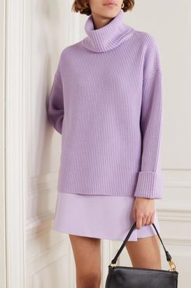 Alice + Olivia Alice Olivia - Mel Open-back Ribbed Wool-blend Turtleneck Sweater - Purple