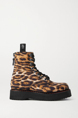 R 13 Leopard-print Canvas Ankle Boots - Brown