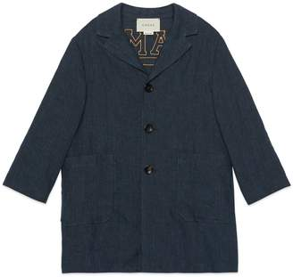 Gucci Children's denim linen coat with patches