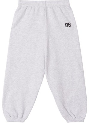 Balenciaga Kids Bb-print Cotton-blend Track Pants - Light Grey