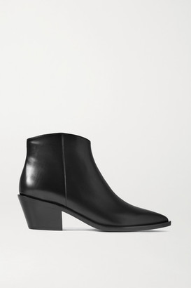 Gianvito Rossi 45 Leather Ankle Boots - Black