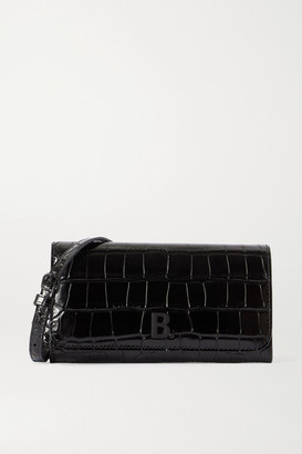Balenciaga Touch Croc-effect Leather Shoulder Bag - Black