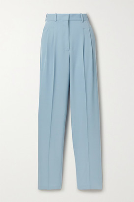 Stella McCartney Pleated Wool-blend Twill Straight-leg Pants - Light blue
