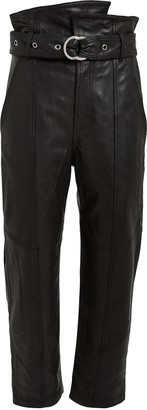 Marissa Webb Anniston Cropped Leather Paperbag Pants