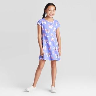 Cat & Jack Girls' Short Sleeve Butterfly Dress - Cat & JackTM Purple