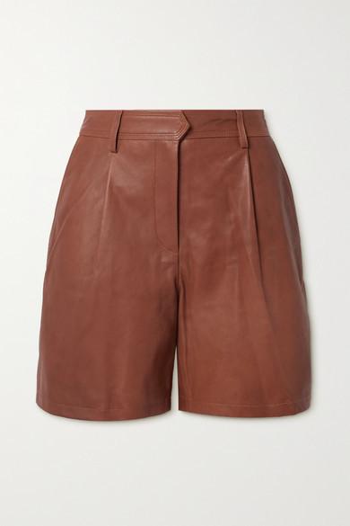 Rag & Bone Ivy Pleated Leather Shorts - Tan