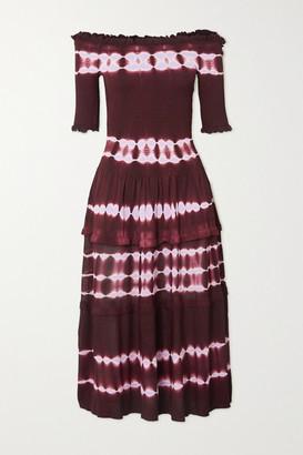 Altuzarra Ayaka Off-the-shoulder Smocked Tie-dyed Knitted Midi Dress - Burgundy