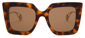 Gucci Oversized Square Acetate Sunglasses - Womens - Tortoiseshell