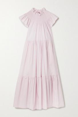 Sea Marlene Tiered Cotton-blend Poplin Midi Dress - Lilac