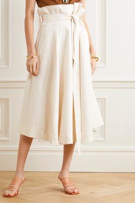 Cult Gaia Asha Belted Linen-blend Midi Skirt - Cream