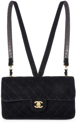 Chanel Black Quilted Velvet Flap Backpack Medium