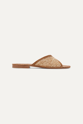 Carrie Forbes Salon Miste Two-tone Woven Raffia Slides - Beige