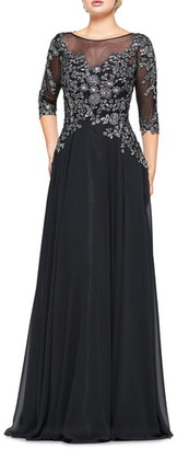 Marsoni Metallic Lace & Chiffon A-Line Evening Gown