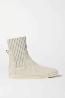 Loro Piana Cocoon Suede And Ribbed Wool Ankle Boots - Beige