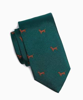 Drakes Drake's Dachshund Dog Tie in Green Silk