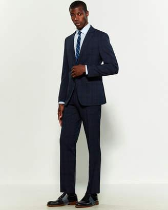 Calvin Klein Two-Piece Blue Textured Windowpane Suit
