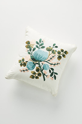 "Rifle Paper Co. x Loloi Blue Botanical Embroidered Pillow By in Blue Size 18"" SQ"