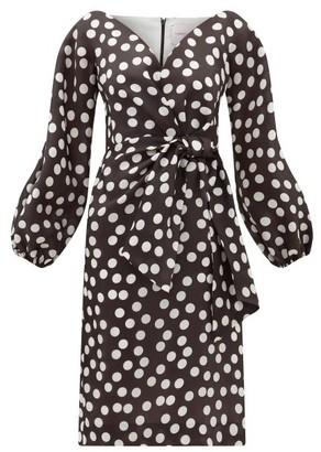 Carolina Herrera Sweetheart-neckline Polka-dot Silk Dress - Black White