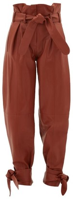 ATTICO Pleated High-rise Paperbag-waist Leather Trousers - Brown