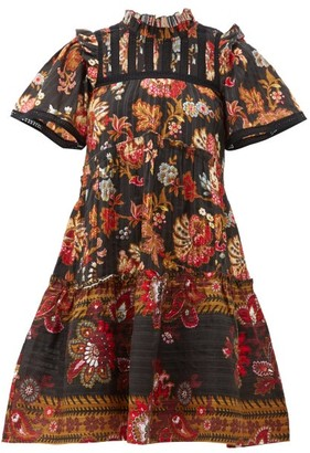 Sea Pascale Floral-print Cotton Mini Dress - Womens - Black Multi