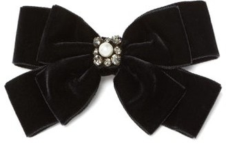 Erdem Faux Pearl-embellished Bow Hair Clip - Womens - Black