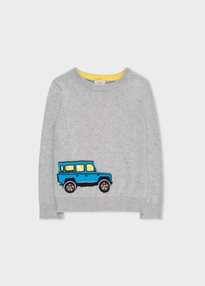 Paul Smith 8+ Years Grey '4x4 Rocket' Intarsia Motif Cotton Sweater