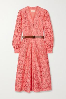 MICHAEL Michael Kors Belted Cotton-blend Corded Lace Midi Shirt Dress - Peach