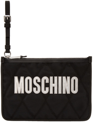 Moschino Black Quilted Logo Pouch