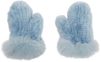 Yves Salomon Blue Rex Rabbit and Fox Fur Mittens