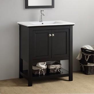 "Cambria Manchester 30"" Single Bathroom Vanity Set Fresca Base Finish: Black"