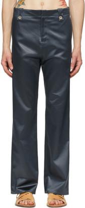 Ludovic de Saint Sernin Grey Satin Suit Trousers