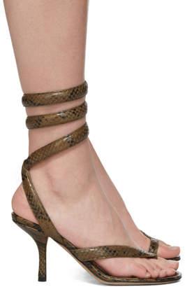 Bottega Veneta Khaki Python Heeled Sandals
