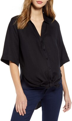 Angel Maternity Tie Front Maternity Button-Up Shirt