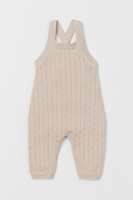 H&M Pattern-knit Overalls - Beige
