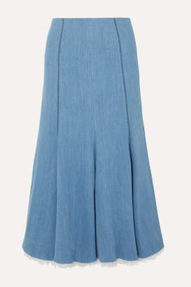 Gabriela Hearst Amy Frayed Fluted Stretch-denim Midi Skirt - Mid denim