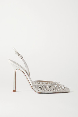 Rene Caovilla Metallic Satin And Crystal-embellished Lace Slingback Pumps - White