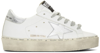Golden Goose White and Silver Hi Star Sneakers