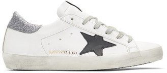 Golden Goose SSENSE Exclusive White Glitter Tab Superstar Sneakers