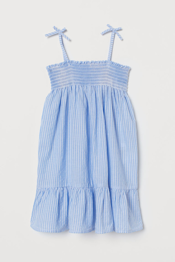 H&M Smocked Cotton Dress - Blue