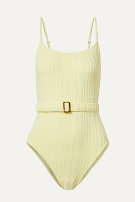Solid & Striped The Nina Belted Ribbed Swimsuit - Pastel yellow