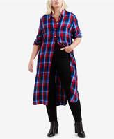 levis-plus-size-ceci-cotton-plaid-long-shirt