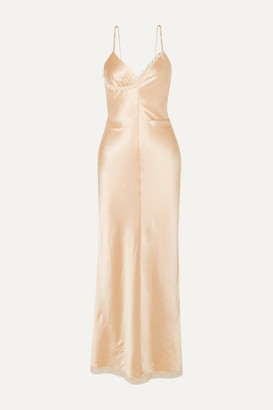 Alexander Wang Chain-embellished Lace-trimmed Silk-charmeuse Midi Dress - Peach
