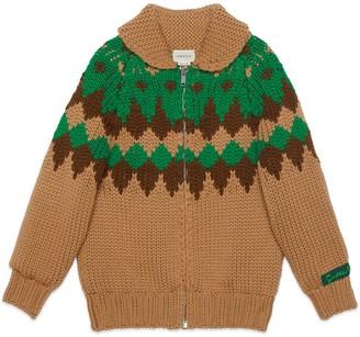 Gucci Children's geometric wool cardigan
