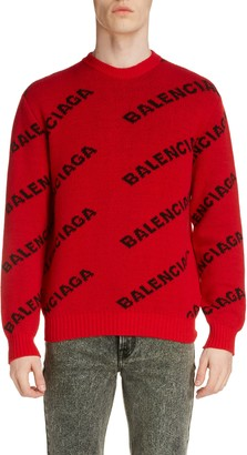 Balenciaga Crewneck Logo Wool Blend Sweater