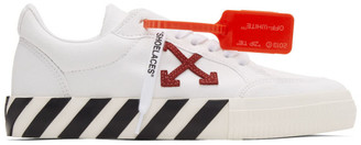 Off-White White and Burgundy Low Vulcanized Sneakers