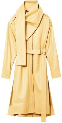 Proenza Schouler leather draped neckline dress
