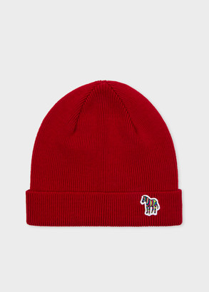 Paul Smith Men's Burgundy 'Zebra' Logo Ribbed Lambswool Beanie Hat