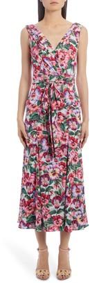 Dolce & Gabbana Floral Stretch Silk Charmeuse Midi Dress