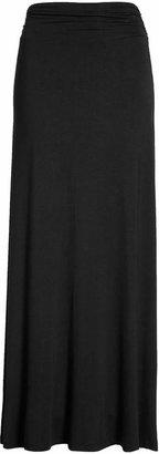 Bobeau Ruched Waist Side Slit Maxi Skirt