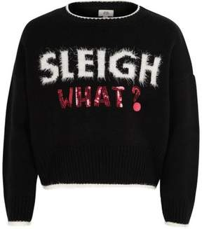 River Island Girls black 'sleigh what' Christmas sweater